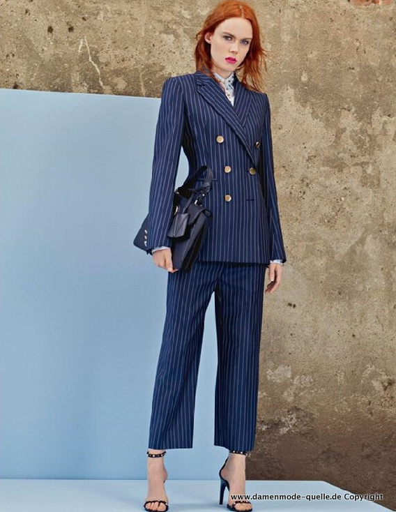 Business Damen Hosenanzug 2021 in Navy Blau Gestreift