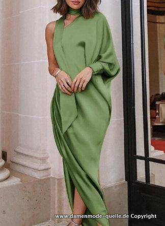 Kleider 2021 Grunes One Shoulder Kleid 2021 Asymmetrisch Damenmode Gunstig Online Kaufen