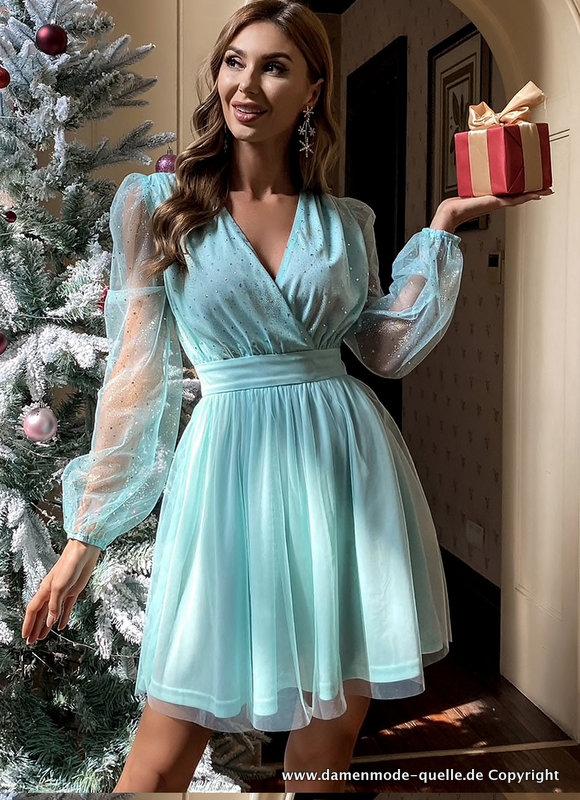 Kleider 2021 Kurzes Elegantes Kleid 2021 In Turkis Blau Mit Tull Armel Damenmode Gunstig Online Kaufen