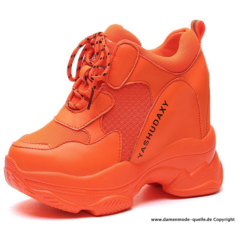 Plateau Freizeit Sport Schuhe in Orange