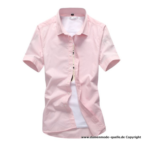 Candy Color Kurzarm Herren Hemd in Rosa