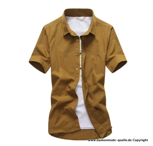 Candy Color Kurzarm Herren Hemd in Khaki