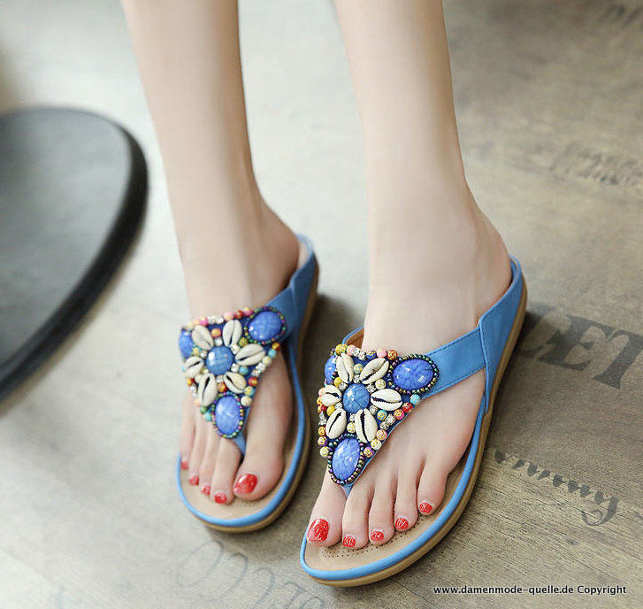 Damen Sea Shell Sandalen Sommer Flip-Flops in Blau