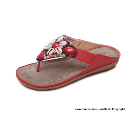 Damen Sea Shell Sandalen Sommer Flip-Flops in Rot
