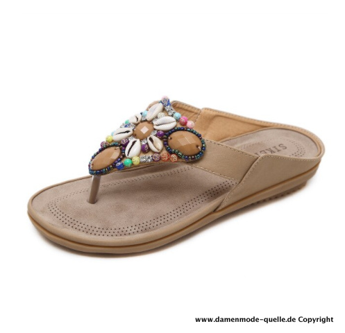Damen Sea Shell Sandalen Sommer Flip-Flops in Beige