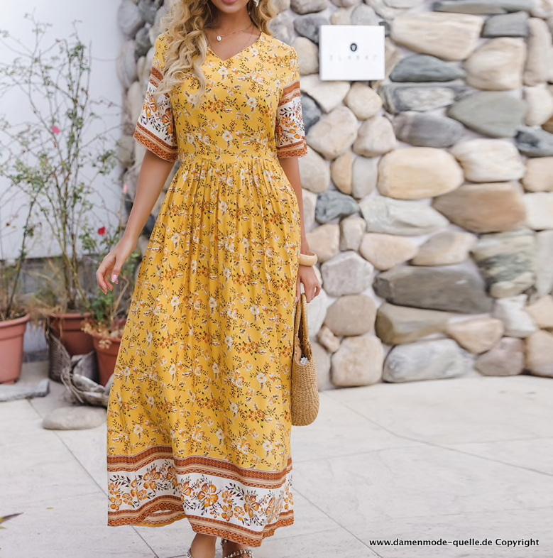 Kleider 2021 Maxi Boho Sommerkleid In Gelb Mit Blumenmuster Damenmode Gunstig Online Kaufen