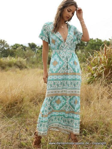 Kleider 2021 | Tiefer V-Ausschnitt Boho Maxi-Kleid ...