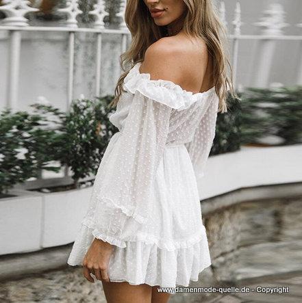 Kleider 2021 Schulterfreies Ruschen Langarm Kleid 2020 Kurz In Weiss Damenmode Gunstig Online Kaufen