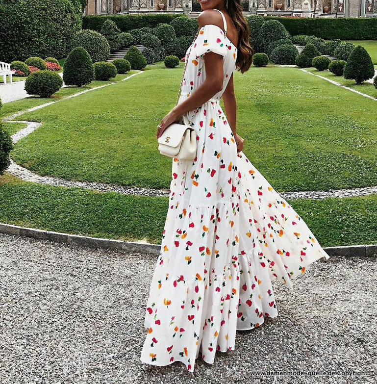 Kleider 2021 | Schulterfreies Blumen Print Boho