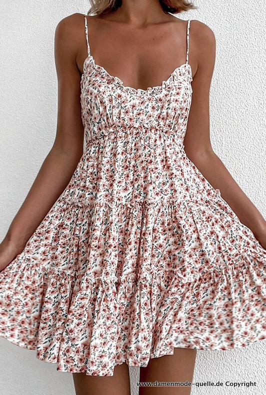 Kleider 2021 Susses Spaghettitrager Sommerkleid Kurz Mit Blumenmuster Damenmode Gunstig Online Kaufen