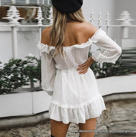 - Kleider 2020   Schulterfreies Rüschen Langarm Kleid 2020
