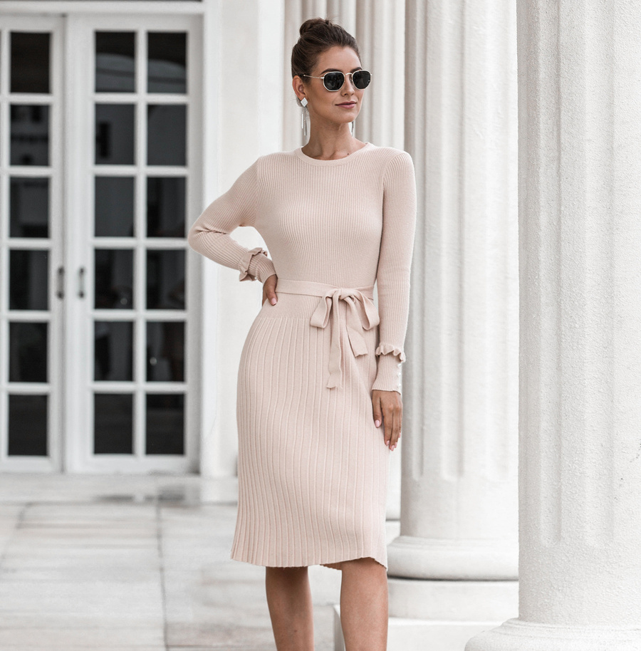 kleider 2021   strick midikleid elegant in beige