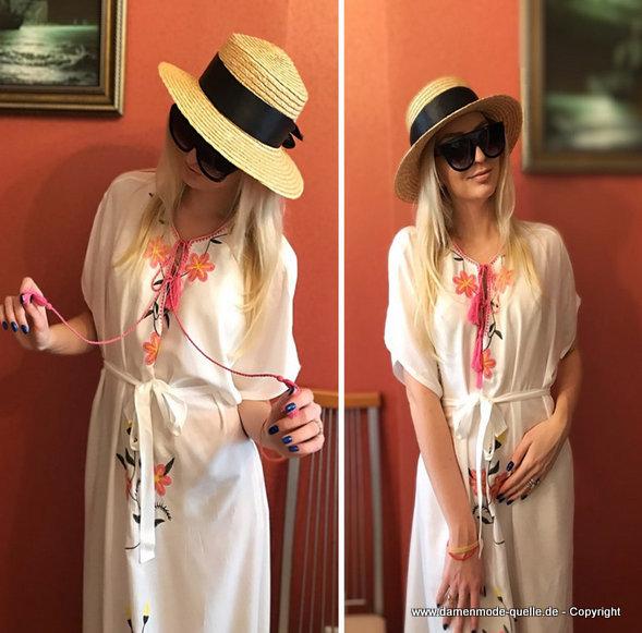 - kleider 2020   weies sommer strandkleid 2020 mit blumen